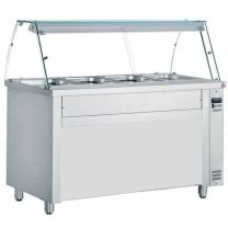 Hot Bain Marie 5ft Curved Glass Display Counter Epsom 150cm 4 Pot