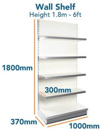Wall Shelf Slim (6ft - 1.8m) Base 370mm (1ft 2inc) Top Shelves 300mm (1ft)