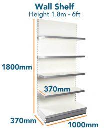 Wall Shelf Slim (6ft - 1.8m) Base 370mm (1ft 2inc) Top Shelves 370mm (1ft 2inc)