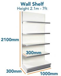 Wall Shelf Slim (7ft - 2.1m) Base 300mm (1ft) Top Shelves 300mm (1ft)