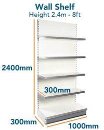 Wall Shelf Slim (8ft - 2.4m) Base 300mm (1ft) Top Shelves 300mm (1ft)
