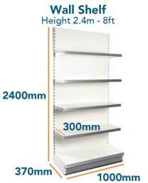 Wall Shelf Slim (8ft - 2.4m) Base 370mm (1ft 2inc) Top Shelves 300mm (1ft)