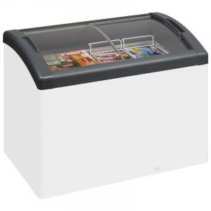 Sliding Curved Glass Lid Chest Freezer ICY 106cm - 270 Litre