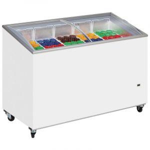 Sliding Curved Glass Lid Ice Cream Chest Freezer 155cm - 430 Litre