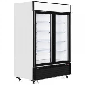 White Double Glass Door Merchandiser Chiller 138cm - 4.5ft - 1108Litre